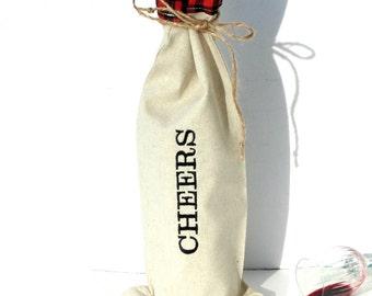 Cheers, wine sleeve bag, wine tote, Christmas cheer, lumberjack fabric wine for him, hostess gift, wine carry bag, fabric wine bag, gift bag