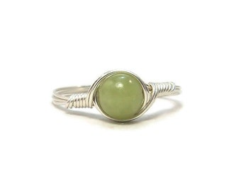 Natural Peridot Olivine Ring Argentium Sterling Silver