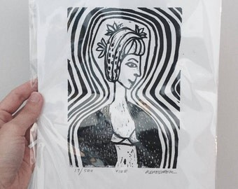 "Original Limited Edition Hand-Pulled Linoleum Block Print, titled ""Vibe"""