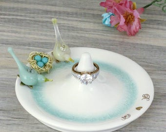 anniversary gift for wife, wedding ring dish, pottery anniversary gifts, ring holder, gold initials