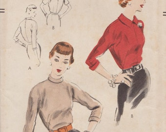 Vogue 7497 / Vintage 50s Sewing Pattern / Blouse / Size 14 Bust 32