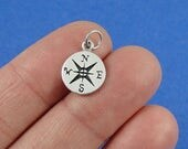 Tiny Compass Charm - Sterling Silver Compass Charm for Necklace or Bracelet