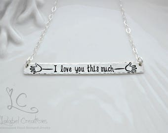 I Love You This Much Hand Stamped Necklace, Sterling Silver Bar Necklace, Hand Stamped Jewelry, Minimalist Jewelry, Engraved Bar Necklace