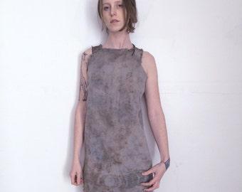 Deep dream Moon Phase vintage cotton Slip Dress hand dyed with black walnut and indigo