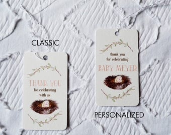 Printable Owl and Egg Baby Shower Favor Tags in Pink - Classic and Personalized Options