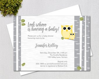 Yellow and Grey Owl Baby Shower Invitation, Gender Neutral Baby Shower Invitation, Printable Digital Invitation, Item 10880