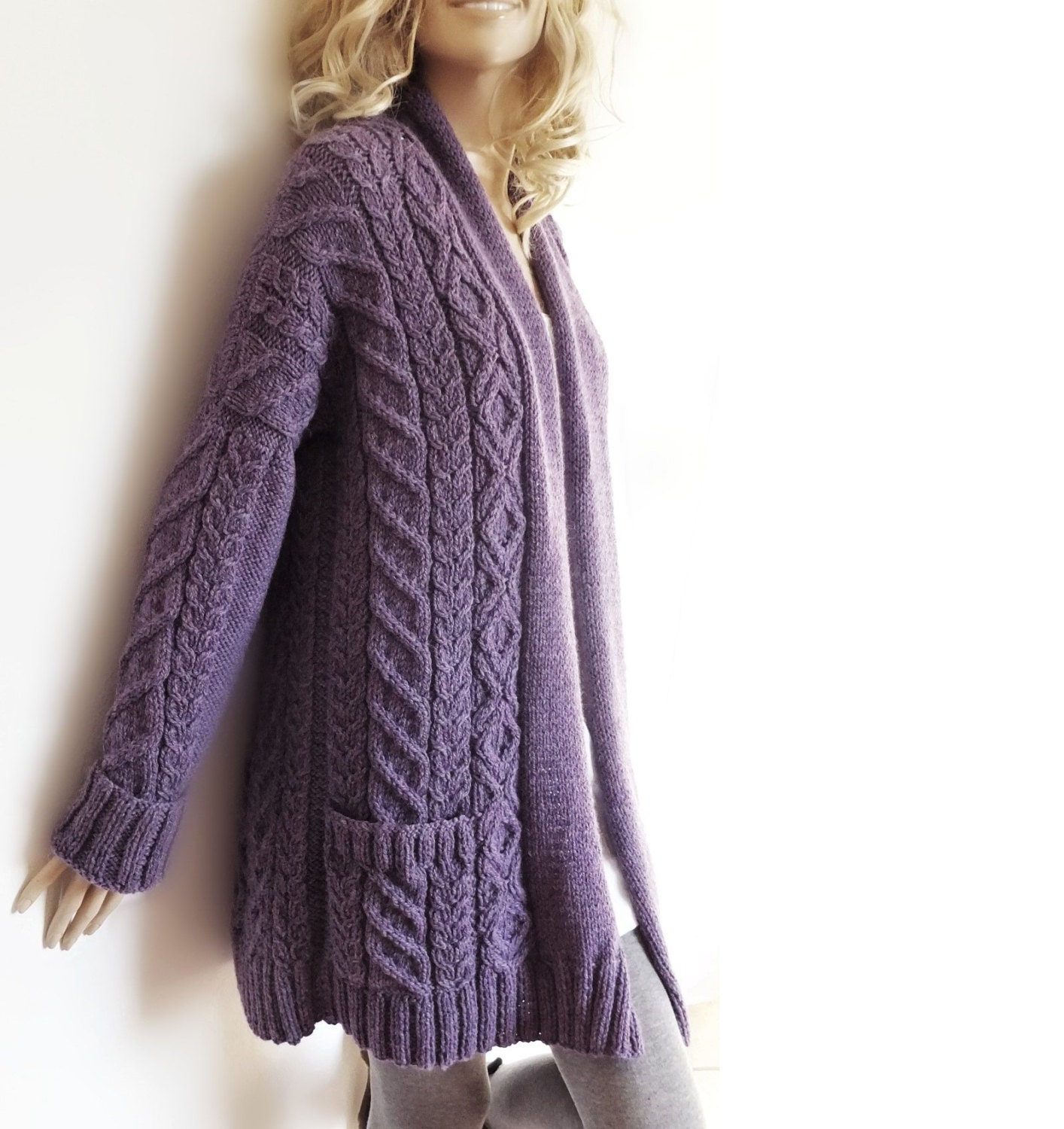 Women's Cable Knit Sweater Knitted Alpaca and Wool