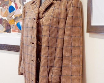 40s Tweed Coat Windowpane Plaid Wool Notched or Button Up Collar Covered Buttons Flap Pockets Slim Silhouette Kate Hepburn Film Noir