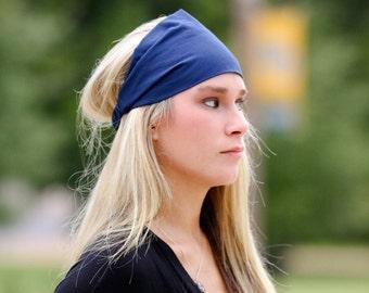 Headband Solid, Navy Blue Head Wrap, Plain Headwrap, Dark Blue Headscarf, Headband with Elastic (#4605) S M L X