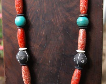 Huge Blue Green Eye Bead Necklace w Extra Large Bumpy Eye Focal and Antique African Coral SandCast Glass Beads Colorful Ethnic Jewelry
