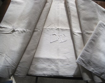 Pair of vintage French linen sheets.  Excellent pair of curtains or upholstery fabric