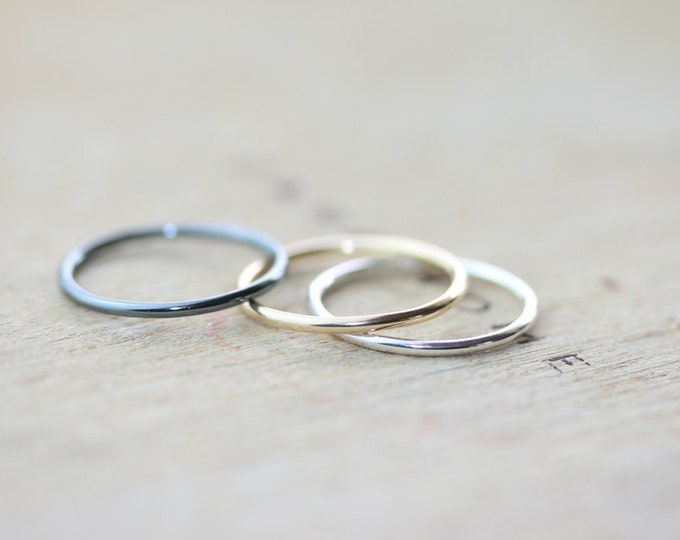 Featured listing image: Silver & Gold Stacking Rings - Set of 3