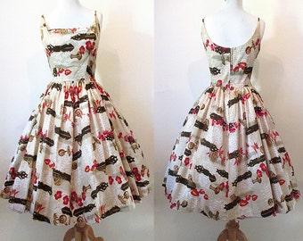 Adorable 1950's Kamehameha Hawaiian Sundress Vintage Tiki Hawaiian Dress VLV Rockabilly Pinup Girl Size Small/Medium
