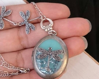 Dragonfly locket Necklace - Vintage Antique style Silver ox Dragonfly Necklace.