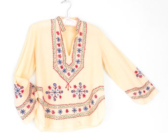 Embroidered Blouse * Indian Tunic Shirt * Folk Embroidery Tunic Top * Medium