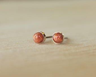 Sunstone Bezel Set 4mm Genuine Gemstone on Niobium or Titanium Posts (Hypoallergenic & Nickel Free Stud Earrings for Sensitive Ears)