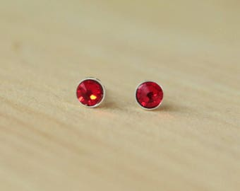 4mm or 5mm Swarovski Light Siam Crystal Bezel Set on Niobium or Titanium Posts (Hypoallergenic Stud Earrings for Sensitive Ears)