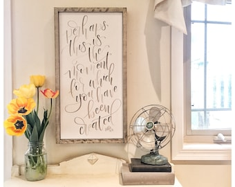Esther Verse - You were created for a moment like this - Framed Hand Lettered Canvas Art - Modern Calligraphy