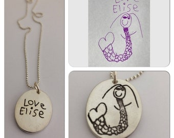 Mother's Day Gift - Double Sided Children's Artwork Oval Pendant or Necklace - Made to order