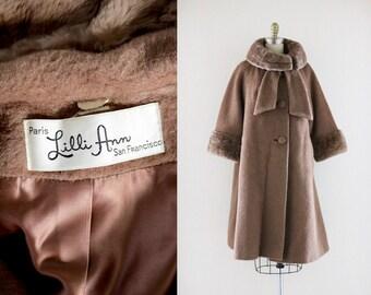 1960's lilli ann mohair + sheared beaver swing coat