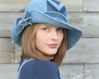Chevron Wide Brim Bucket Hat Patched Denim Hippie Floppy Hat