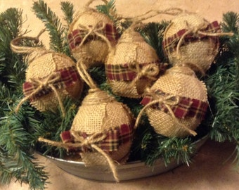 Burlap Christmas ornaments, rag ball ornaments, burlap bowl fillers, primitive ornaments, farmhouse ornament, rustic ornaments.  Set of six.