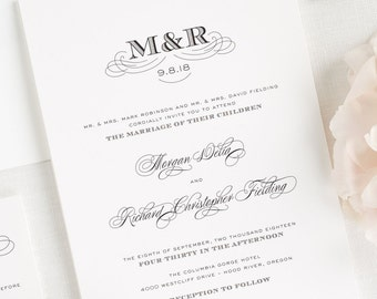 Antique Monogram Wedding Invitations - Deposit