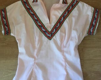 Vintage 1950s H Bar C Western Blouse Light Pink
