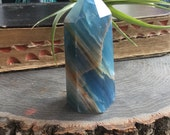 """Blue Onyx crystal point, obelisk, 3"""" tower generator, 117g Natural undyed stone from Argentina"""