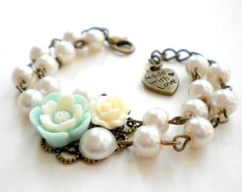 Kid Jewelry Flower Girl Bracelet Gift For Baby Girl Wedding Jewelry Pearl Kid Bracelet Flower Girl Gift Turquoise Bracelet Ivory Wedding