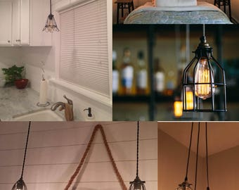 Cage Pendant Custom Light- Colorful Choices Modern Light for office kitchen dining industrial cage bulb guard pendant LED Edison Bulb
