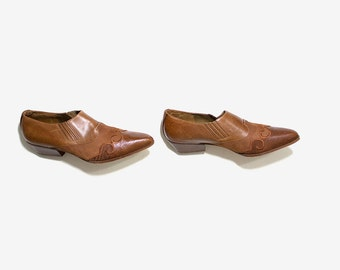 FLASH SALE Vintage Ankle Boots 9.5 / Italian Leather Ankle Boots / Leather Winklepickers / Ankle Boots Women