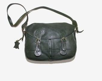 Vintage Leather Messenger / Messenger Bag / Leather Saddle Bag / Green Leather Briefcase