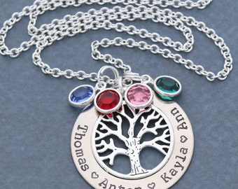 SALE • Birthstone Tree Necklace • Swarovski Crystal Necklace Family Gift Mom Necklace • Name Custom Family Tree Gift Grandma Necklace Mother