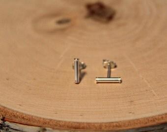 Sterling Silver Bar Earrings, Cylinder Post, Stud Earrings, 10mm, Small Stud, Delicate Stud, Barrel Earring