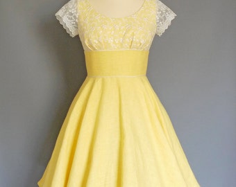 Sherbet Yellow Linen & Lace Swing Dress - Made by Dig For Victory