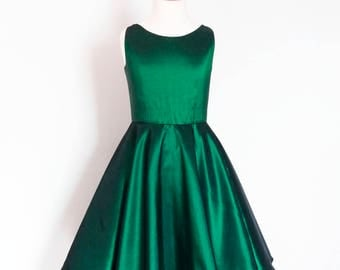 Flower Girl Dress - Emerald Green Taffeta - Circle Skirt - Vintage Style - Fifties - Made By Dig For Victory!