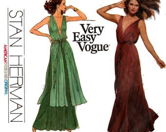 "70s STAN HERMAN Evening Stretch Maxi Dress Vogue 1774 American Designer Original Vintage Sewing Pattern Size 14 Bust 36"" UNCUT Factory Folds"