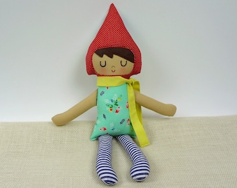 Audrey Gnome Doll // Handmade Doll // Garden Gnome // New Baby Gift // Red Aqua Gnome Girl // Warm Sugar Doll // Girls Room Decor