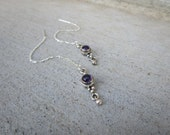 Sterling Silver Amethyst Gemstone Threader Earrings