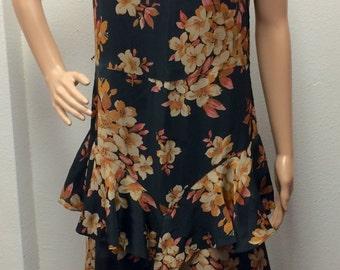 Vintage 30s Dress Black Cream Floral Print S
