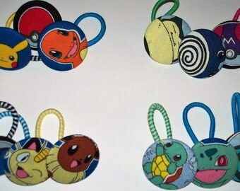 POKEMON Set of 3 Button Pony O's,Pokeball Ponytail Holder,Elastic Headband,Fabric Covered Hair Tie,Squirtle,Pikachu,Charmander,Eevee,Meowth