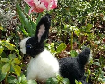 "Needle Felted Black and White Dutch Rabbit Bunny 6"" x 6"" Easter OOAK  Hollander or Brabander Animal Doll Wool Fiber Art"