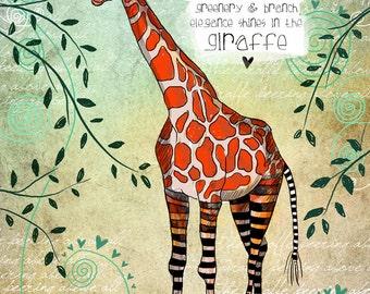 Giraffe /art print original illustration ART Print Hand SIGNED size 8 x 10