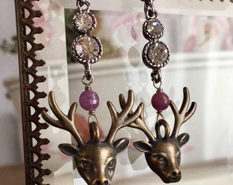 comet and cupid - vintage rhinestone reindeer earrings ruby rubies bronze deer heads antler woodland animal winter christmas holiday
