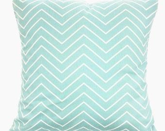 Aqua White Chevron Decorative Pillow Covers, Throw Pillow Cushion Covers Pastel Aqua White Chevron Euro Sham Couch Bed Sofa VARIOUS SIZES