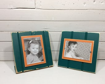 "Aqua and Orange  table top picture frame holds one 4""x 6"" photo. Miami Dolphins colors"