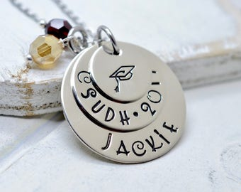 Personalized Graduation Necklace, Senior Necklace, Class of 2014, High School, College, Gift, Graduation Cap Necklace, Hand Stamped Jewelry