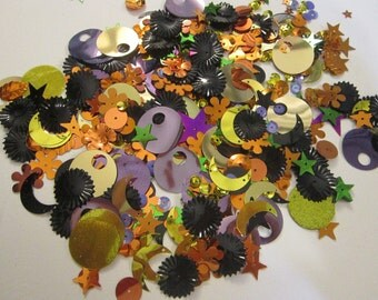 vintage sequin and spangle mix - 1/4 CUP - HALLOWEEN mix - cup sequins, flat sequins, stars, crescent moons, flowers, pailettes
