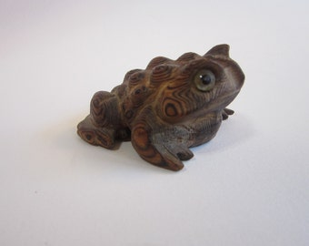 vintage carved cryptomeria wood toad - carved wooden toad, made in Japan